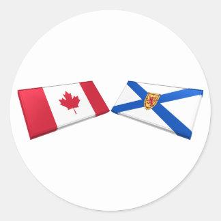 Tejas de la bandera de Canadá y de Nueva Escocia Pegatina Redonda