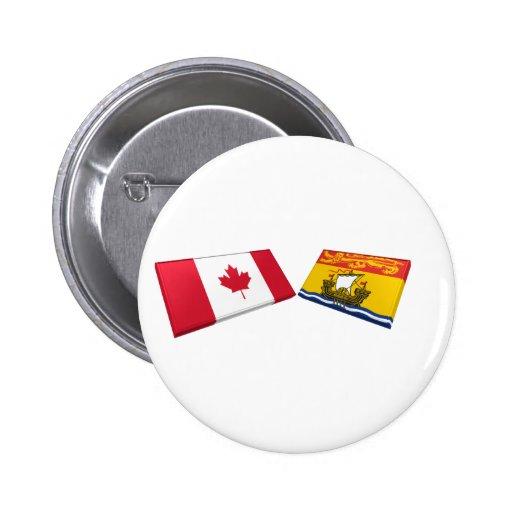 Tejas de la bandera de Canadá y de Nuevo Brunswick Pin Redondo 5 Cm