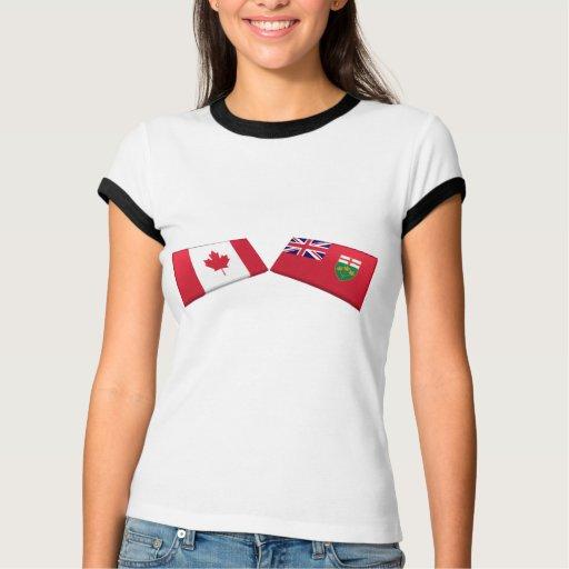 Tejas de la bandera de Canadá y de Ontario Playera