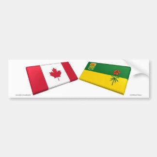 Tejas de la bandera de Canadá y de Saskatchewan Pegatina Para Auto