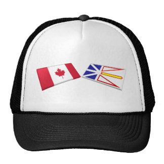 Tejas de la bandera de Canadá y de Terranova Gorro De Camionero