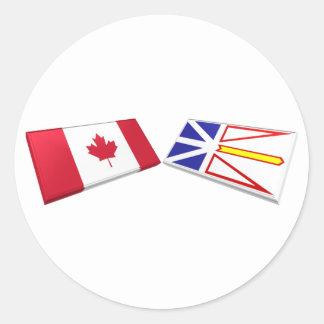 Tejas de la bandera de Canadá y de Terranova Pegatina Redonda