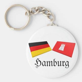 Tejas de la bandera de Hamburgo, Alemania Llavero Redondo Tipo Pin