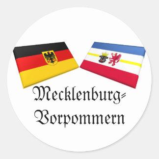 Tejas de la bandera de Mecklemburgo-Pomerania Pegatina Redonda