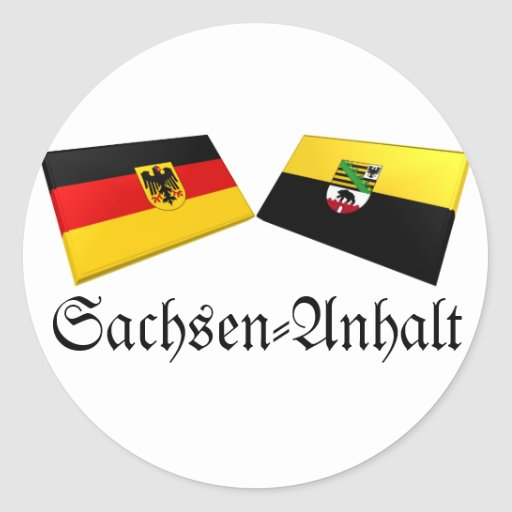 Tejas de la bandera de Sajonia-Anhalt, Alemania Pegatina Redonda