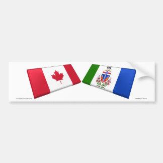 Tejas de la bandera del territorio de Canadá y del Pegatina Para Auto