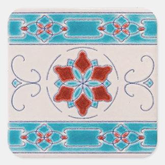 Tejas de la mayólica de Nouveau del arte Pegatina Cuadrada