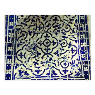 Tejas de mosaico de Guell del parque de Gaudi Postal