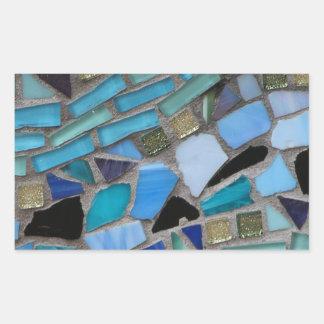 Tejas de mosaico del azul y del verde pegatina rectangular