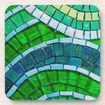 Tejas de mosaico verdes posavasos de bebidas