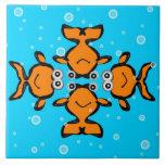 Tejas decorativas - pescados del oro