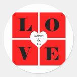 Tejas del amor pegatina redonda