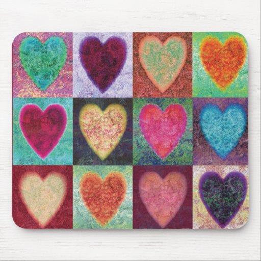 Tejas del arte del corazón tapete de raton