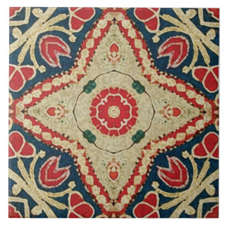 tejas del Batik-estilo estampado de flores rojo