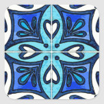 Tejas del corazón inspiradas por el azul de calcomanía cuadradas personalizadas