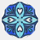 Tejas del corazón inspiradas por el azul de etiquetas redondas