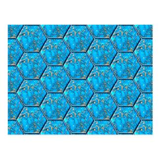 Tejas del hexágono de la turquesa tarjeta postal