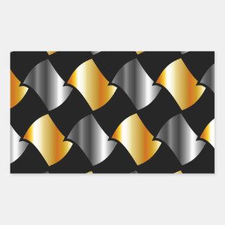 Tejas del oro y de la plata rectangular pegatinas