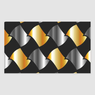 Tejas del oro y de la plata pegatina rectangular