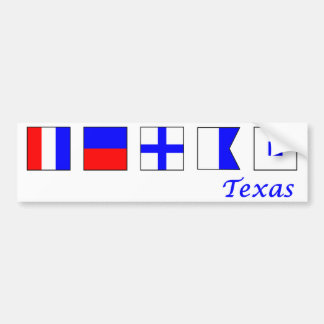 Tejas deletreó en alfabeto náutico de la bandera pegatina de parachoque