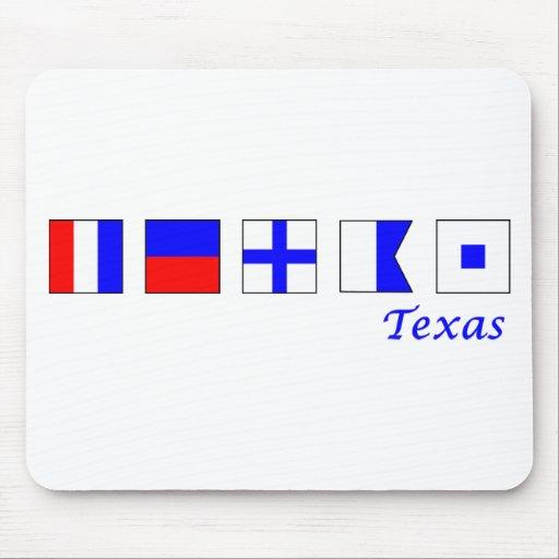 Tejas deletreó en alfabeto náutico de la bandera tapete de ratones