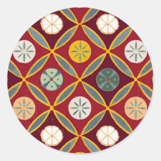 Tejas egipcias rojas pegatina redonda
