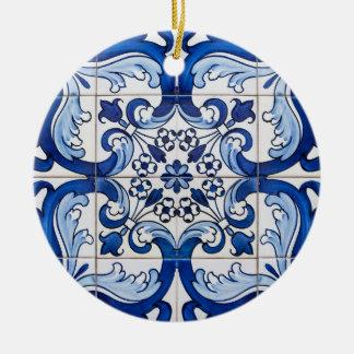 Tejas esmaltadas portugués adorno navideño redondo de cerámica