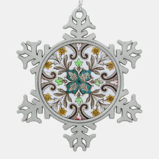 Tejas florales de Peranakan Adorno De Peltre En Forma De Copo De Nieve