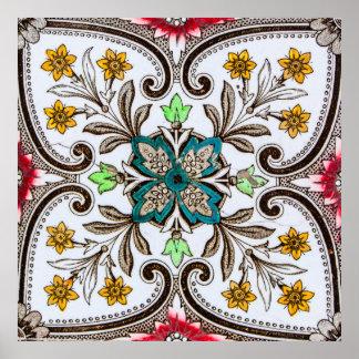 Tejas florales de Peranakan Póster
