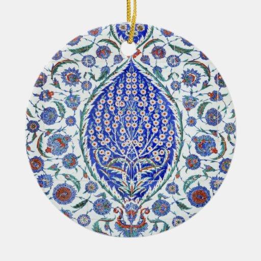 Tejas florales turcas adorno redondo de cerámica