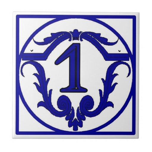 Tejas francesas azules del número de casa de la le