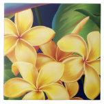 Tejas hawaianas y Trivet del Plumeria del paraíso