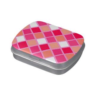 Tejas juguetonas del color del lápiz labial del jarrones de dulces