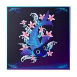 Tejas Koi-Rosadas azules de las flores