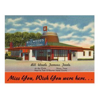 Tejas, las comidas famosas de madera de Bill, Waco Tarjeta Postal