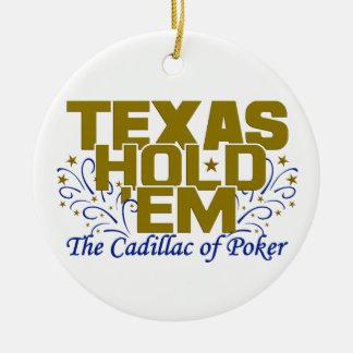 Tejas los sostiene ornamento adorno navideño redondo de cerámica