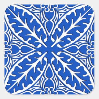 Tejas marroquíes - azul y blanco de cobalto pegatina cuadrada