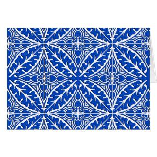 Tejas marroquíes - azul y blanco de cobalto tarjeta pequeña