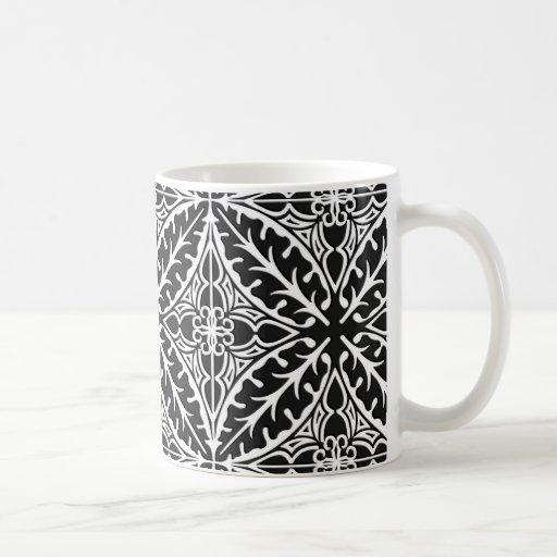 Tejas marroquíes - blancos y negros taza de café