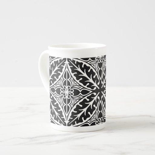 Tejas marroquíes - blancos y negros tazas de china