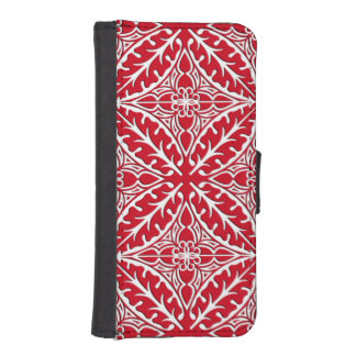 Tejas marroquíes - rojo oscuro y blancas fundas tipo billetera para iPhone 5