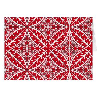 Tejas marroquíes - rojo oscuro y blancas tarjeta pequeña