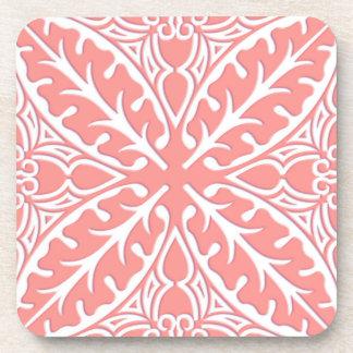 Tejas marroquíes - rosado coralino y blanco posavasos
