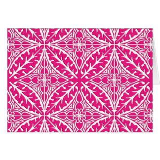 Tejas marroquíes - rosado fucsia y blanco tarjeta pequeña