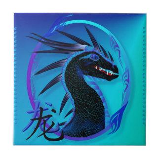Tejas negras de cuernos del dragón y del símbolo