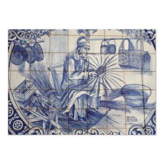 """Tejas portuguesas del azulejo invitación 5"""" x 7"""""""