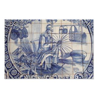 Tejas portuguesas del azulejo impresiones fotograficas