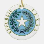 Tejas (república del color del sello de Tejas) Adorno Navideño Redondo De Cerámica