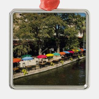 Tejas, Riverwalk, cenando en el borde del río Adorno Navideño Cuadrado De Metal