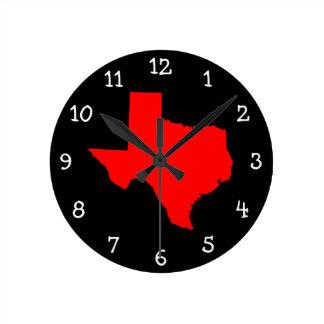 Tejas rojo y negro brillante reloj redondo mediano